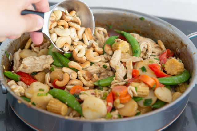 Adding Cashews to the Skillet