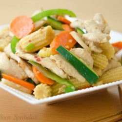 Chicken Stir Fry with Zucchini, Baby Corn, and Carrots in White Bowl