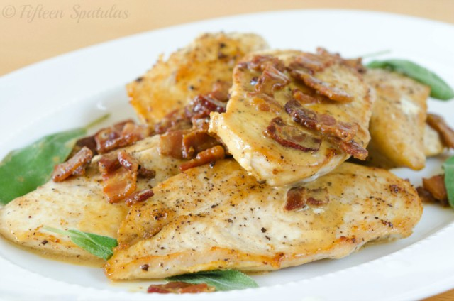 chicken sauteed with sage, bacon, and mustard cream sauce