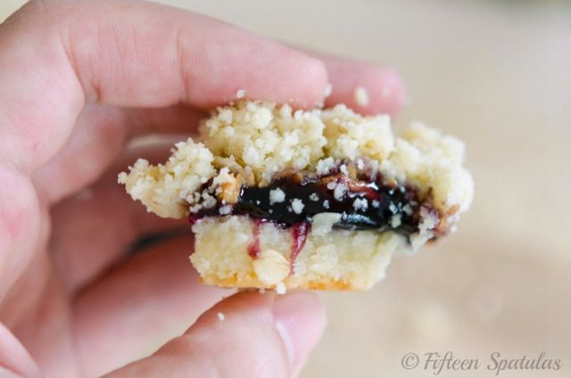 pb&j shortbread bars with oat crumble