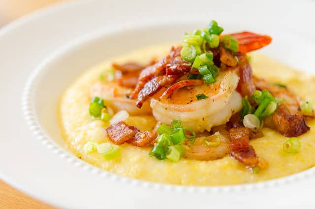 Shrimp and Cheese Grits with Bacon and Green Onion