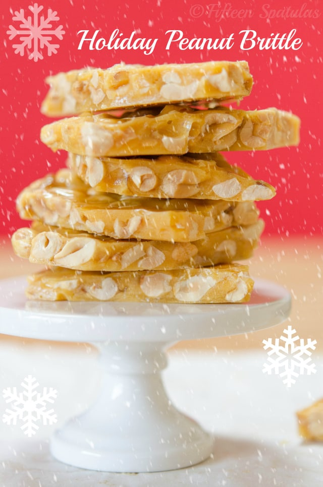 Pictured is a stack of peanut brittle