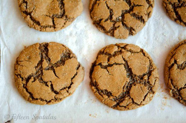 Ginger Crinkle Cookies Overhead View
