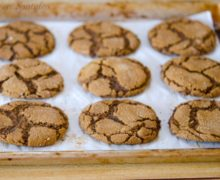 Crinkled Ginger Molasses Cookies on Parchment