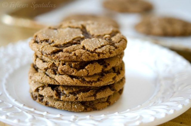 chewy ginger molasses cookies stacked high