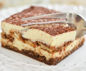 Tiramisu Recipe - Made with Fresh Mascarpone Cheese, Ladyfingers, Espresso, and Cocoa, and presented here in a square piece