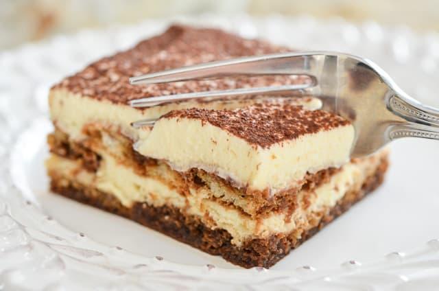 Tiramisu Recipe - Made with Fresh Mascarpone Cheese, Ladyfingers, Espresso, and Cocoa, and presented here in a square piece