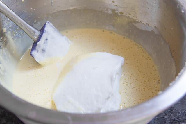 Folding Stiff Egg Whites Into Egg Yolks For Tiramisu