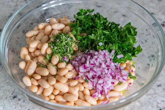 Cannellini Bean Salad Recipe - With Rosemary, Parsley, Red Onion, and Lemon Dressing