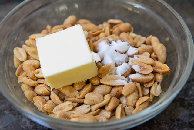 Peanuts, baking Soda, and Butter in Glass Bowl