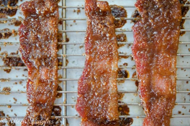 praline bacon is roasted with brown sugar and pecans