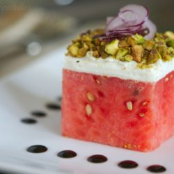 watermelon goat cheese salad cube with balsamic dots