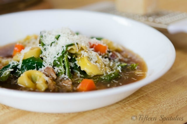 Beef Tortellini Soup in White Bowl