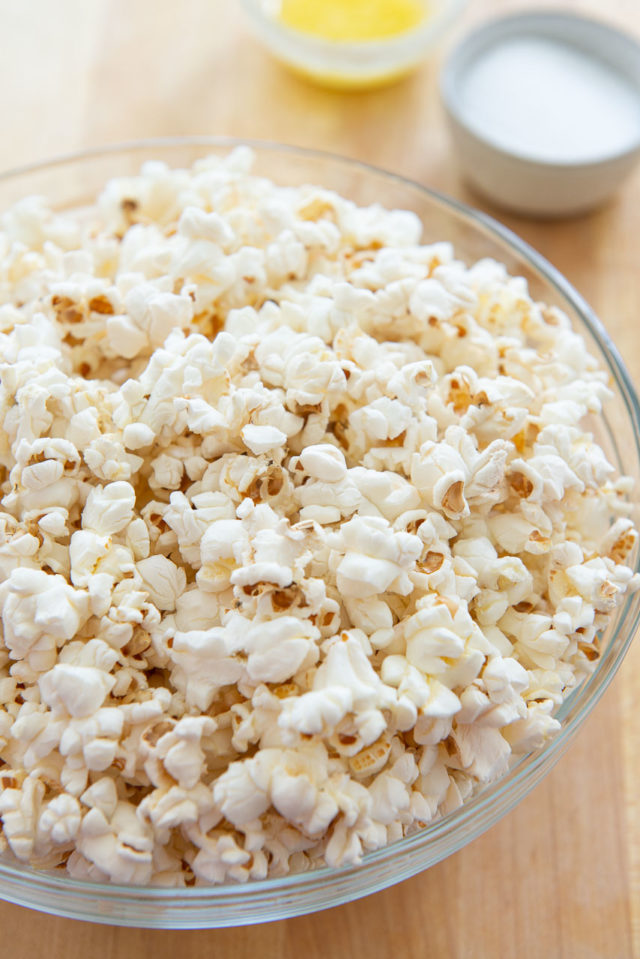 Stovetop Popcorn - Served in a Bowl on Wooden Board