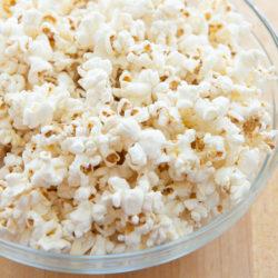 Stovetop Popcorn in Glass Bowl