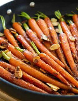 Maple Glazed Carrots - Shown here Cooked in a Nonstick Skillet with Crunchy Sliced Almonds Sprinkled on Top