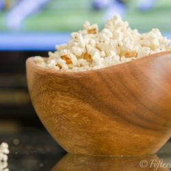 Stovetop Popcorn in Wooden Bowl