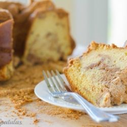 Cinnamon Crumb Coffee Cake - With One Slice on Plate and the Rest in Background
