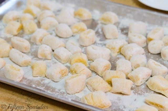 freshly cut yukon gold potato gnocchi