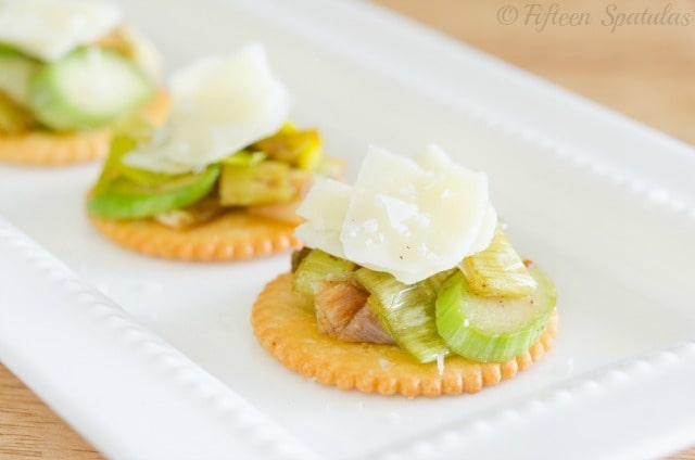 Leek asparagus cheddar shaving butter cracker