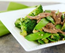Beef Broccoli Snow Pea Stir Fry in White bowl