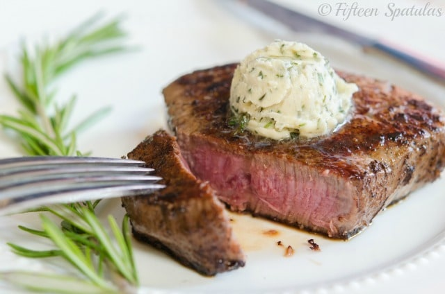 Rare Cooked Steak with Whipped Garlic Herb Butter On Top