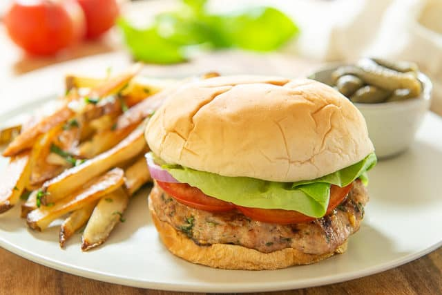 Turkey Feta Burger on Plate with Garlic Fries