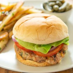Turkey Burgers with Feta and Basil with Garlic Fries on Side