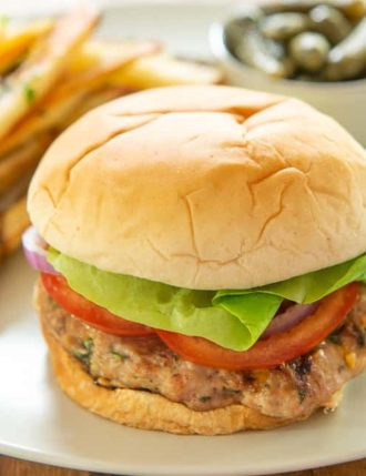 Turkey Burgers with Feta and Basil