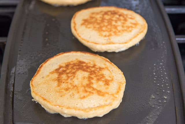 Wheat Pancakes - on a Buttered Griddle Fully Cooked
