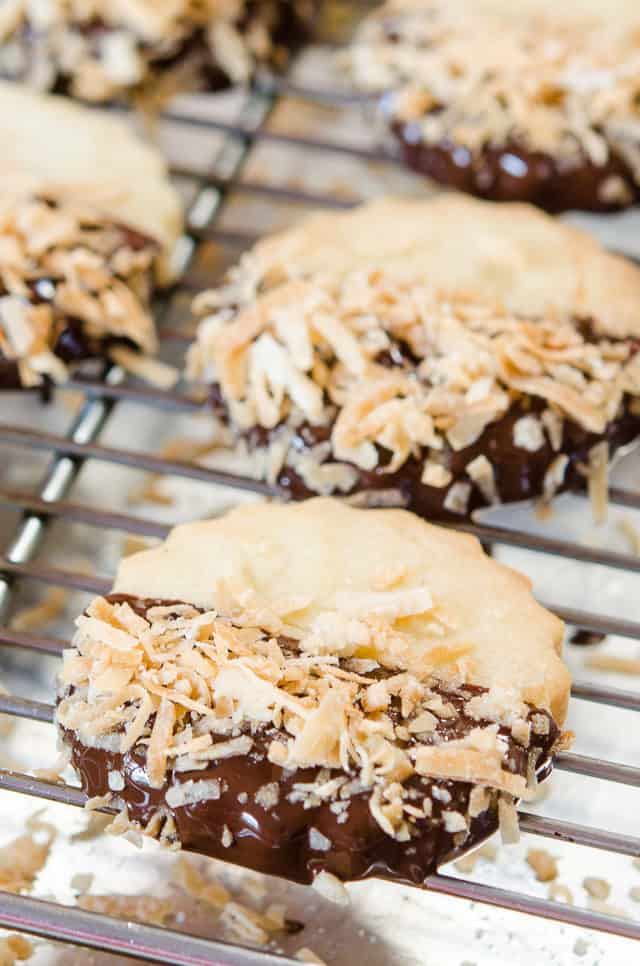 Toasted Coconut Shortbread - On a Wire Rack with Chocolate Half Dip