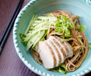 Soba Noodles In Blue Bowl with Sesame Dressing, Cucumbers, and Scallions