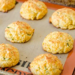 Cheddar Drop Biscuits on Silicone Mat