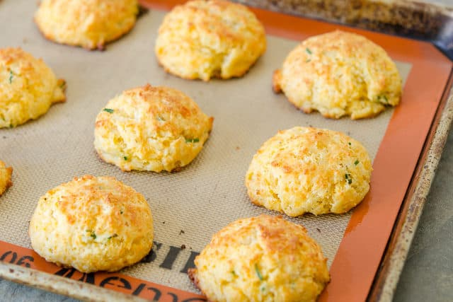 Cheddar Biscuits - on Silicone Mat with Chives