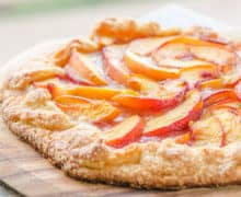 Peach Tart - On a Wooden Board with Sugared Crust