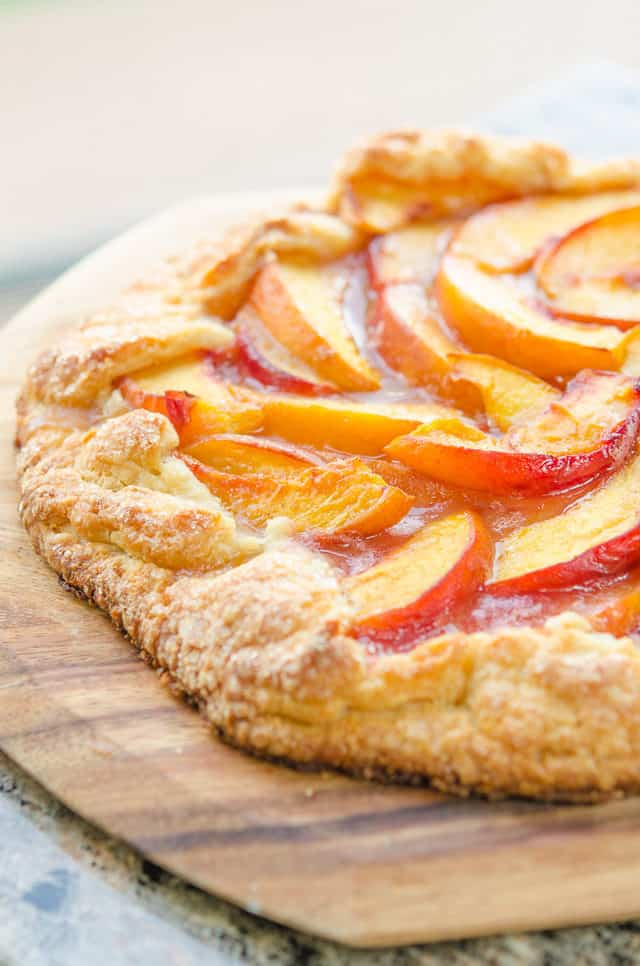Peach Crostata - On a Wooden Board with Sugared Crust