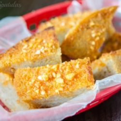 Sriracha Garlic Bread in Red basket