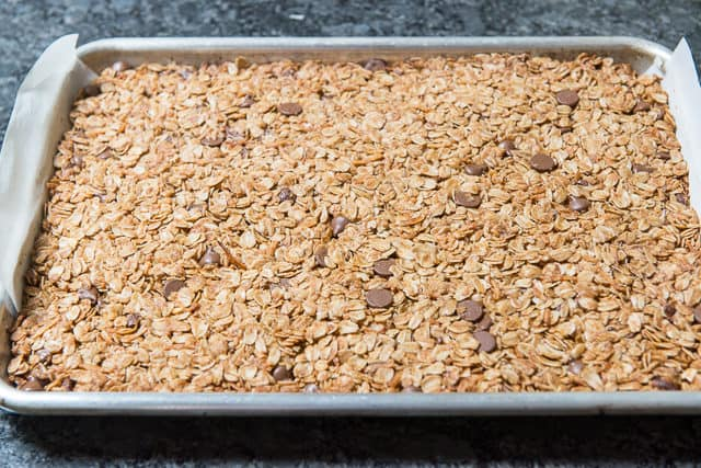 Crunchy Granola Bar Mixture Baked with Golden Color