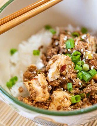 Quick Ground Pork Stir Fry with Tofu