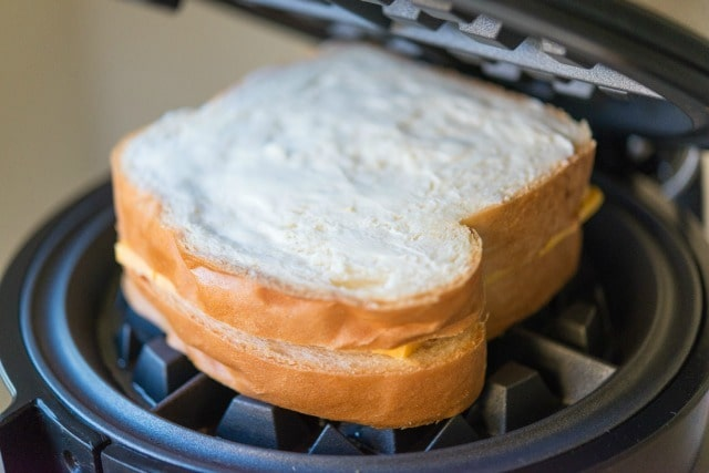 Unpressed Grilled Cheese Sandwich in Waffle Iron