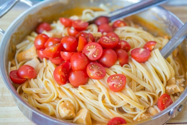 Halved Cherry Tomatoes on Pasta with Buffalo Pasta Sauce