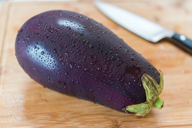 Eggplant with Water Droplets