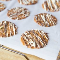 Florentine Lace Cookies Drizzled with White and Dark Chocolate