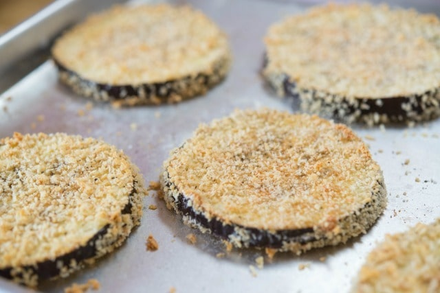 baked Breaded Eggplant Slices on Sheet Pan