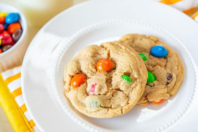 Peanut M&M Cookies - on White Plate