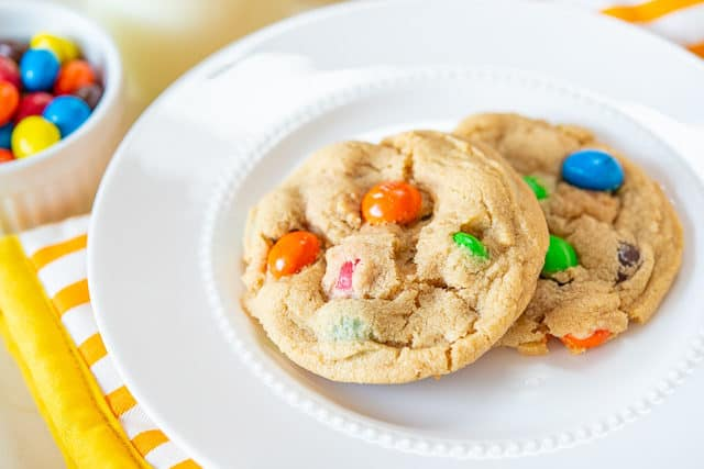M&M Cookie Recipe - Served on White Plate