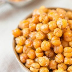 Oven Roasted Chickpeas in Brown Bowl