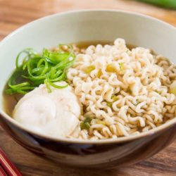 Ramen Noodles In a Bowl with Quick Broth, Poached Egg, and Scallion Curls