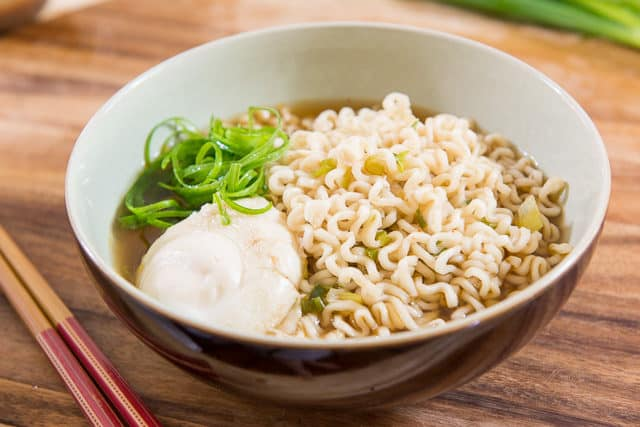Ramen Noodles - In a Bowl with Quick Broth, Poached Egg, and Scallion Curls