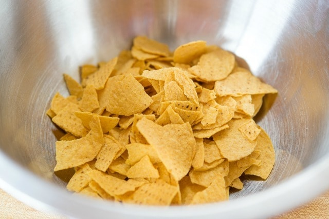 Crushed Tortilla Chips in a Bowl